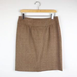 MaxMara Brown Plaid Print Wool Pencil Skirt Sz 10
